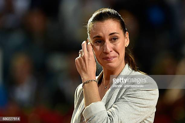 Flavia Pennetta of Italy waves bye after retiring from tennis on Day Three of The Internazionali BNL d'Italia 2016 on May 10 2016 in Rome Italy