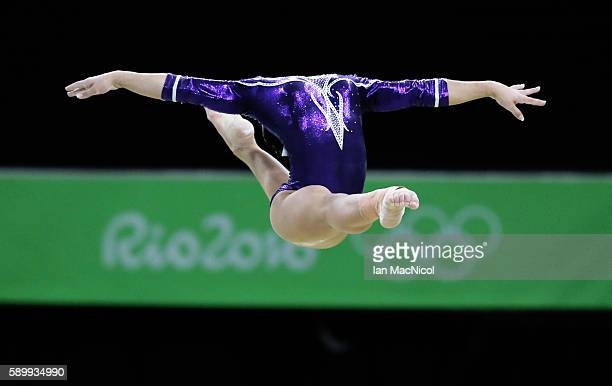Flavia Saraiva of Brasil performs in the Final of The Beam at Rio Olympic Arena on August 15 2016 in Rio de Janeiro Brazil