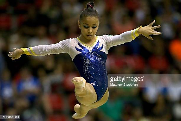 Flavia Saraiva of Brazil competes on the balance during the Final Gymnastics Qualifier Aquece Rio Test Event for the Rio 2016 Olympics at the Olympic...