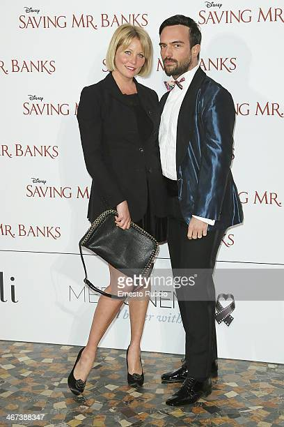 Flavia Vento and guest attend the 'Saving Mr Banks' premiere at The Space Moderno on February 6 2014 in Rome Italy