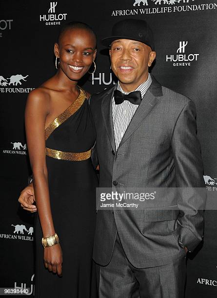 Flaviana Matata and Russell Simmons attend the Hublot and African Wildlife Foundation Auction Dinner at American Museum of Natural History African...