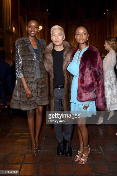 Flaviana Matata Bryanboy and Ashleigh Murray attend the Dennis Basso Fall/Winter 2018 Collection Runway Show at Saint Bart's Church on February 12...