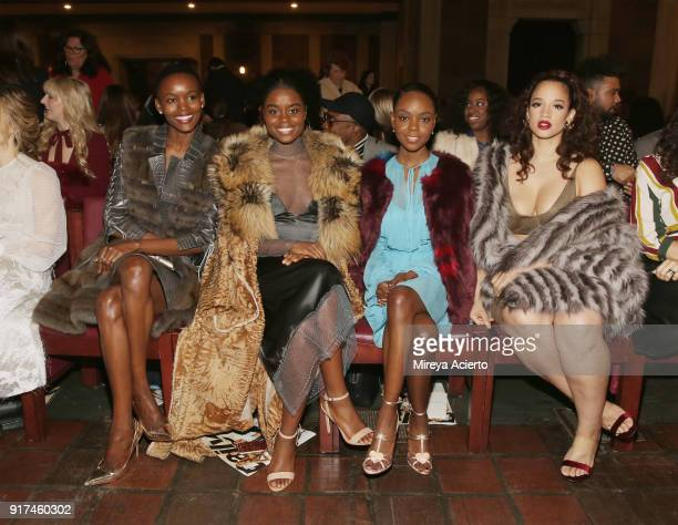 Flaviana Matata Denee Benton Ashleigh Murray and Dascha Polanco attend the Dennis Basso fashion show at St Bartholomew's Church on February 12 2018...
