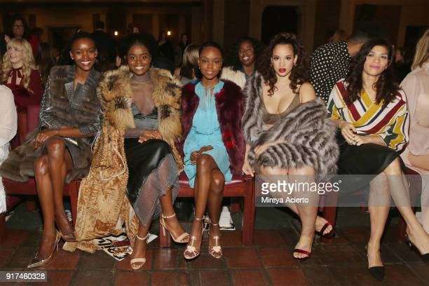 Flaviana Matata Denee Benton Ashleigh Murray Dascha Polanco and Laura Gomez attend the Dennis Basso fashion show at St Bartholomew's Church on...