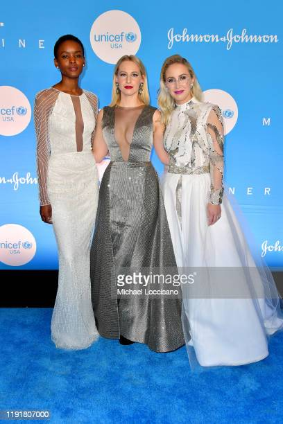 Flaviana Matata Emily Burnett and Sterling McDavid at the 15th Annual UNICEF Snowflake Ball 2019 at 60 Wall Street Atrium on December 03 2019 in New...