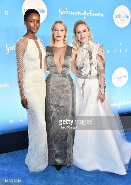 Flaviana Matata Emily Burnett and Sterling McDavid attend the 15th Annual UNICEF Snowflake Ball at Cipriani Wall Street on December 03 2019 in New...