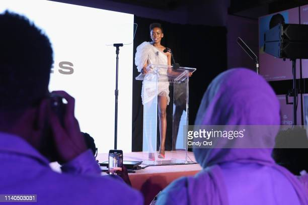Flaviana Matata speaks on stage during The Beauties Presented By Beautycon And SheaMoisture on April 04 2019 in New York City