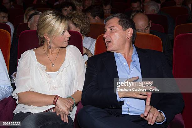 Flavie Flament and Yves Calvi attend the RTL Press Conference at Elysees Biarritz Cinema on September 7 2016 in Paris France