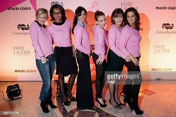Flavie Flament Audrey Pulvar MarieClaude Pietragalla MarieAmelie Seigner Cecilia Hornus and Faustine Bollaert attend 'Pink Ribbon' Event Against...