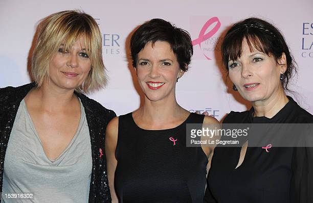 Flavie Flament Nathalie Renoux and Cecilia Hornus attend the '20 Ans Du Ruban Rose' event organized by Estee Lauder during Breast Cancer Awareness...