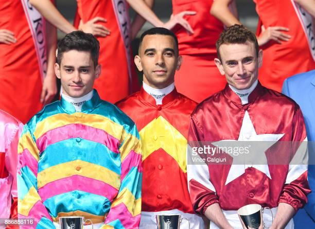 Flavien Prat Joao Moriera and Ryan Moore pose at the Opening ceremony during Longines Hong Kong International Jockey Championship night at Happy...