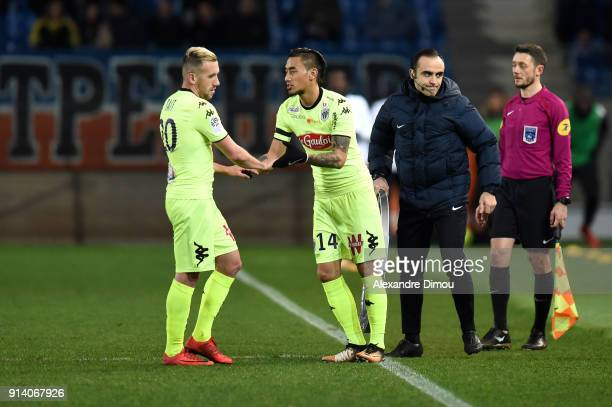 Flavien Tait and Billy Ketkeophomphone of Angers during the Ligue 1 match between Montpellier and Angers at Stade de la Mosson on February 3 2018 in...