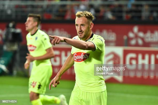 Flavien Tait of Angers celebrates his goal during the Ligue 1 match between Dijon FCO and Angers SCO at Stade Gaston Gerard on May 19 2018 in Dijon