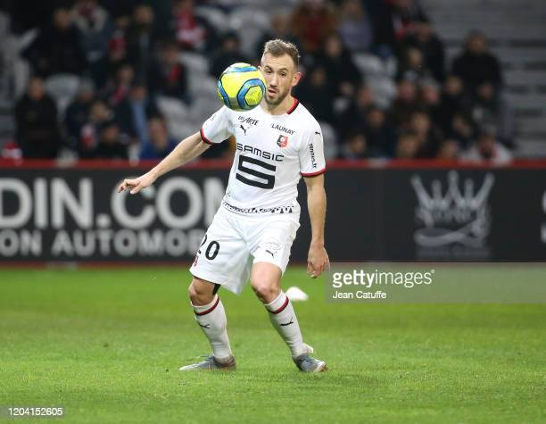 Flavien Tait of Stade Rennais during the Ligue 1 match between Lille OSC and Stade Rennais at Stade Pierre Mauroy on February 4, 2020 in Villeneuve...