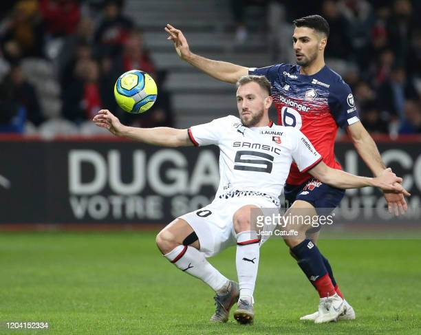 Flavien Tait of Stade Rennais, Mehmet Zeki Celik of Lille during the Ligue 1 match between Lille OSC and Stade Rennais at Stade Pierre Mauroy on...