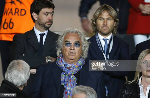 Flavio Briatore above him President of Juventus Andrea Agnelli and Pavel Nedved attend the UEFA Champions League Quarter Final second leg match...