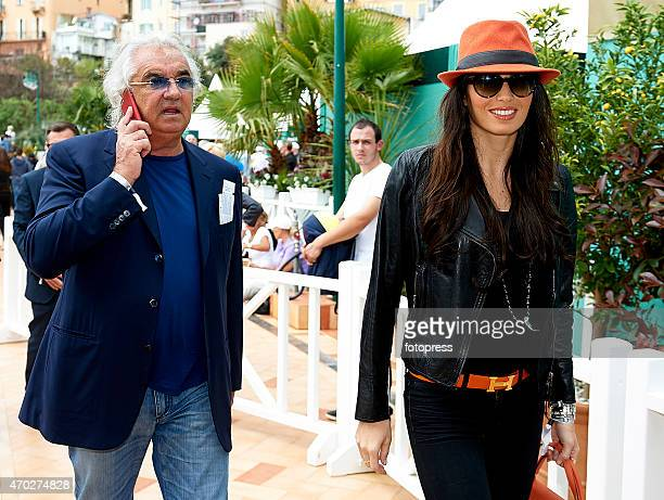 Flavio Briatore and his wife Elisabetta Gregoraci attend the ATP Masters Series Rolex at MonteCarlo Sporting Club on April 18 2015 in MonteCarlo...