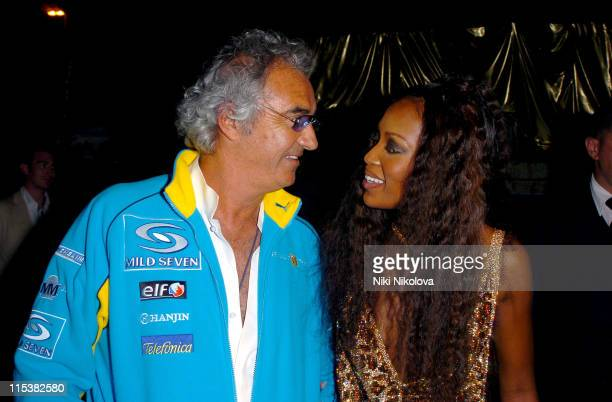 Flavio Briatore and Naomi Campbell during Naomi Campbell Birthday Party Arrivals in Cannes France