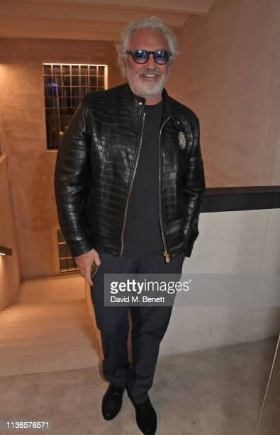 Flavio Briatore attends Flavio Briatore's birthday dinner ahead of the ABB FIA Formula E GEOX Rome EPrix at Caviar Kaspia Roma on April 12 2019 in...