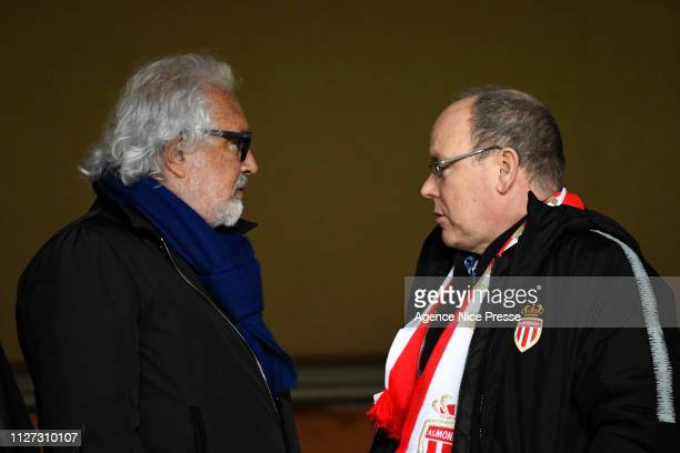 Flavio Briatore former manager of Formula 1 team and Prince Albert of Monaco during the Ligue 1 match between Monaco and Lyon at Stade Louis II on...