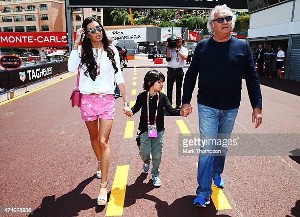 Flavio Briatore, his wife Elisabetta Gregoraci and son Falco attend the Monaco Formula One Grand Prix at Circuit de Monaco on May 24, 2015 in...