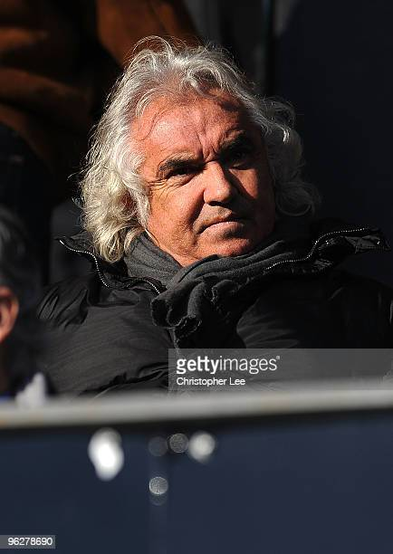 Flavio Briatore of QPR looks on before kick off in the CocaCola Championship match between Queens Park Rangers and Scunthorpe United at Loftus Road...