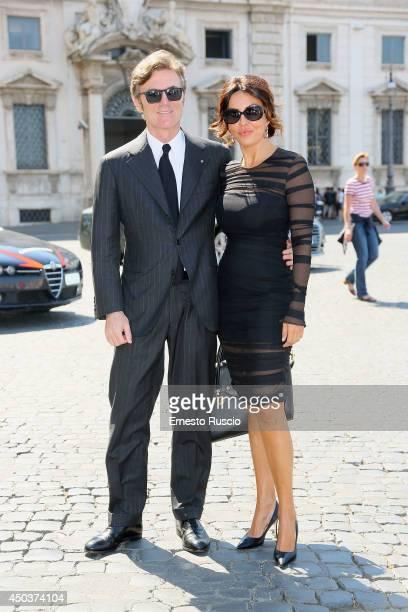 Flavio Cattaneo and Sabrina Ferilli attend the David Di Donatello Awards Nominees At Palazzo Quirinale on June 10, 2014 in Rome, Italy.
