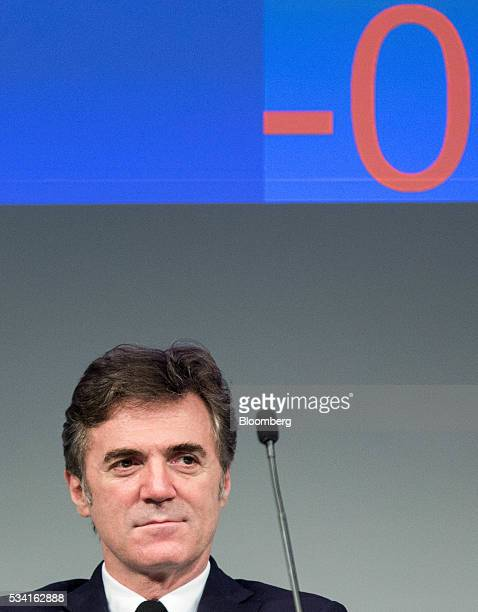 Flavio Cattaneo, chief executive officer of Telecom Italia SpA, looks on during the company's annual general meeting at their headquarters in...