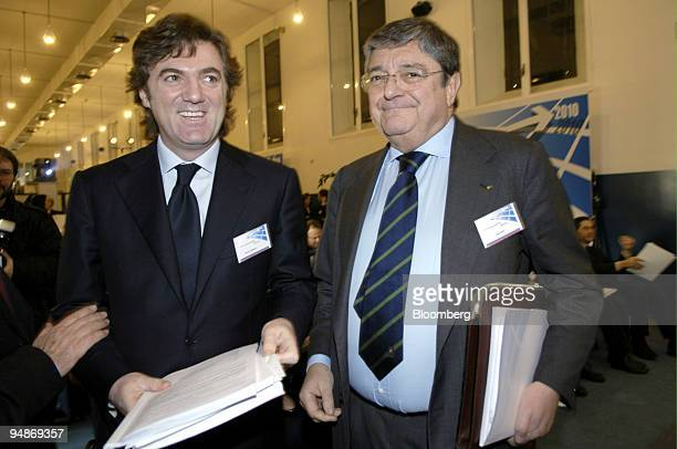 Flavio Cattaneo, left, chief executive officer Terna SpA, and Luigi Roth, chairman, pose during a press briefing in Milan, Italy, Tuesday, January...