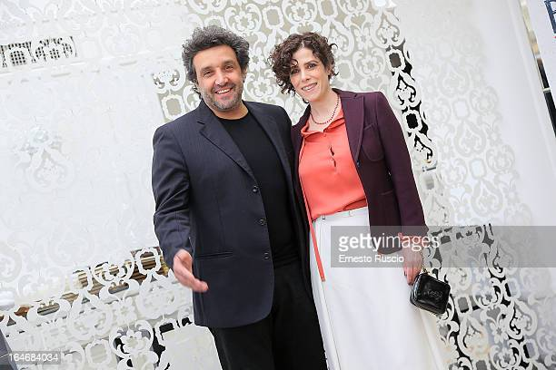 Flavio Insinna and Cecilia Dazzi attend the 'Bianca Come Il Latte Rossa Come Il Sangue' photocall at Hotel Bernini on March 26 2013 in Rome Italy