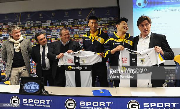 Flavio Modena, Alessandro Giacomini, Tommaso Ghirardi, Cheng Qu, Xiao-Tian Yang and Marco Marchi during a press conference to officially annouce the...