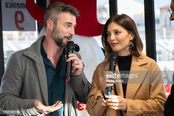 Flavio Montrucchio and Alessia Mancini interviewed during the day spent at the Viareggio carnival