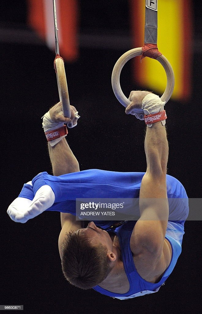 Flavius Koczi of Romania performs on the Rings during the mens senior qualification round, in the European Artistic Gymnastics Team Championships 2010, at the National Indoor Arena in Birmingham, central England on April 23, 2010.