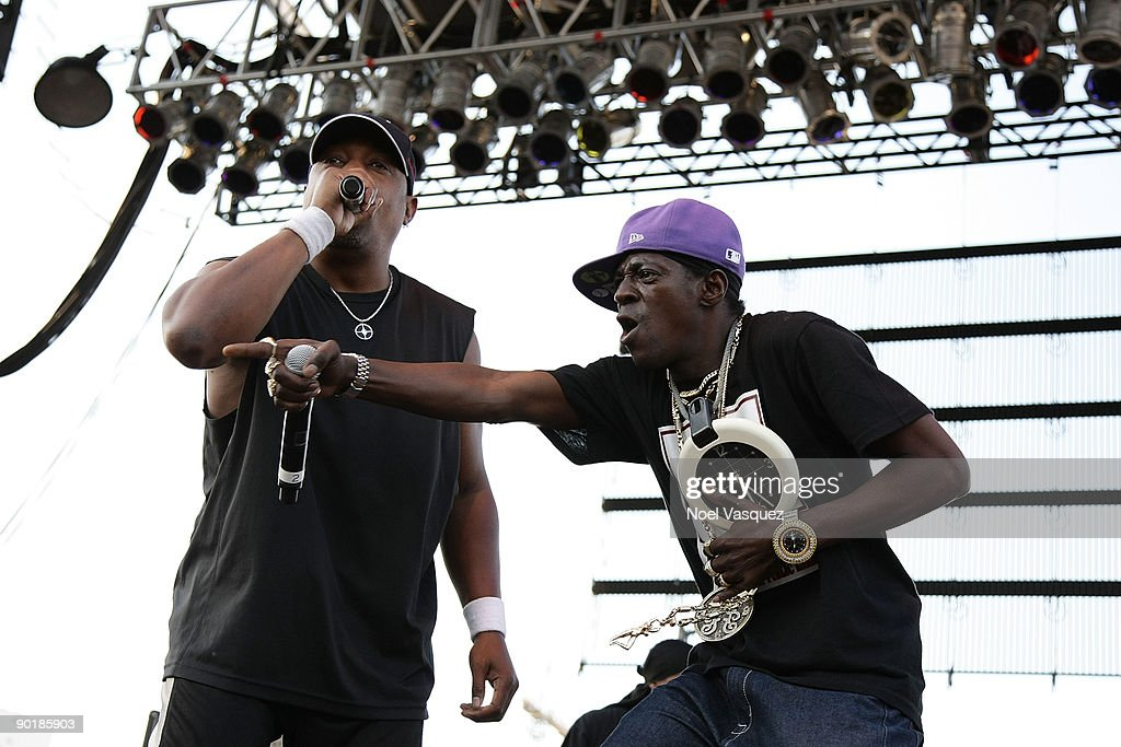 Flavor Flav (R) and Chuck D of Public Enemy perform at Street Scene Music Festival - Day 2 on August 29, 2009 in San Diego, California.