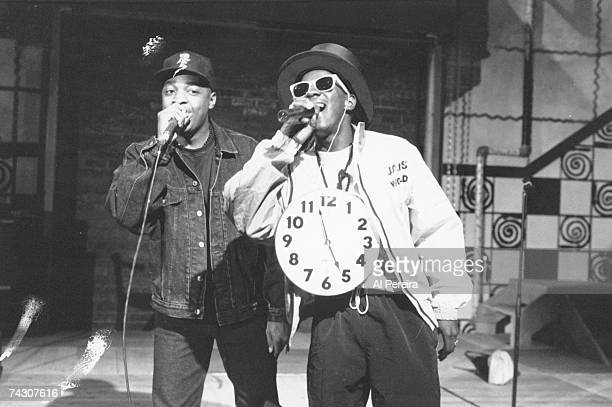 Flavor Flav and Chuck D of the rap group Public Enemy perform onstage in circa 1988 in New York New York