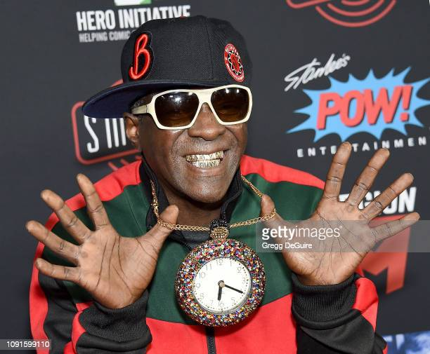 Flavor Flav arrives at Excelsior A Celebration Of The Amazing Fantastic Incredible And Uncanny Life Of Stan Lee at TCL Chinese Theatre on January 30...