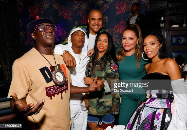 Flavor Flav Ja Rule Irv Gotti Aisha Atkins Angie Martinez and Lil Mama attend as WEtv celebrates the premieres of Growing Up Hip Hop New York and...