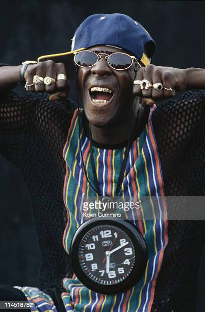 Flavor Flav of hip hop group Public Enemy circa 1988