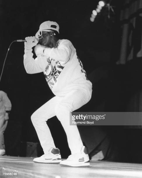 Flavor Flav of the rap group 'Public Enemy' performs onstage in 1988 in Chicago Illinois