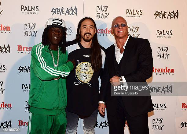 Flavor Flav Steve Aoki and Johnny Brenden during produce/DJ Steve Aoki's Brenden Celebrity Star presentation at Palms Casino Resort on March 6 2015...