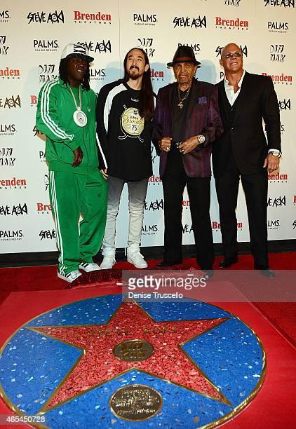Flavor Flav Steve Aoki Joe Jackson and Johnny Brenden during produce/DJ Steve Aoki's Brenden Celebrity Star presentation at Palms Casino Resort on...
