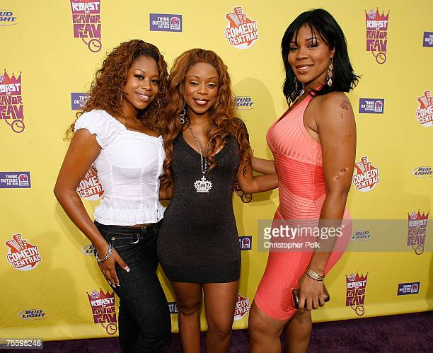 Flavor of Love Girls Charm School contestants Larissa 'Bootz' Aurora Shay 'Buckeey' Johnson and Deelishis arrives to The Comedy Central Roast of...