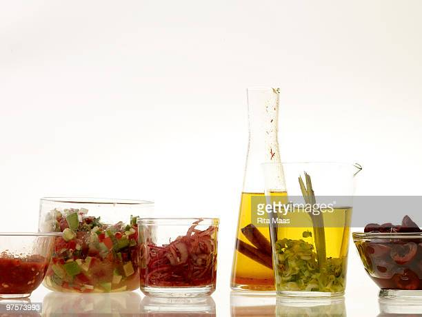 flavored oils and salsas - cruet stock photos and pictures