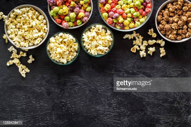flavored popcorn black table top voew