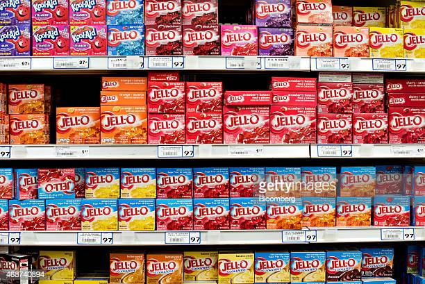 Flavors of Kraft Foods Group Inc JellO brand gelatin dessert sit on display in a supermarket in Princeton Illinois US on Wednesday April 1 2015 The...