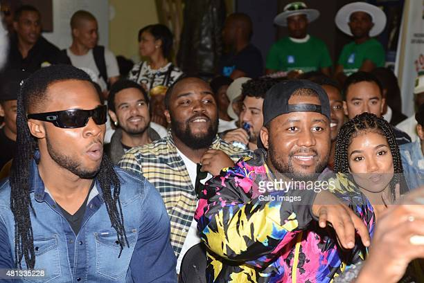 Flavour Cassper Nyovest and US singer Jhene Aiko during the Nelson Mandela Day event hosted by the MTV Africa Music Awards on July 182015 at Ohlange...