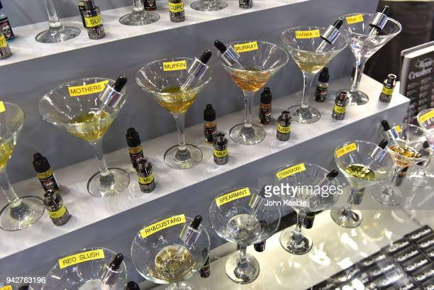 Flavoured ELiquids on display during the Vape Jam UK 4 at ExCel on April 6 2018 in London England Vape Jam UK the premier Electronic Cigarette and...