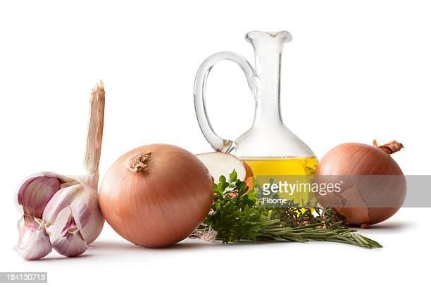 aroma: cebola, alho, azeite de oliva e tomilho - cebola - fotografias e filmes do acervo