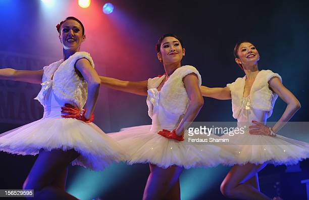 Flawless and English National Ballet perform at the switch on of Bluewater Christmas Lights at Bluewater Shopping Centre on November 16 2012 in...