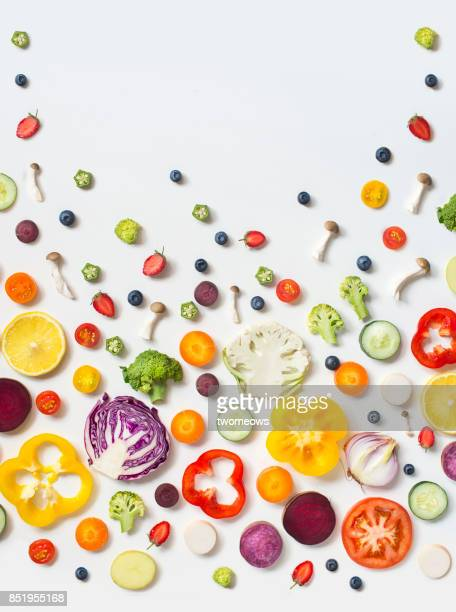 Flay lay colourful assorted vegan food still life background.
